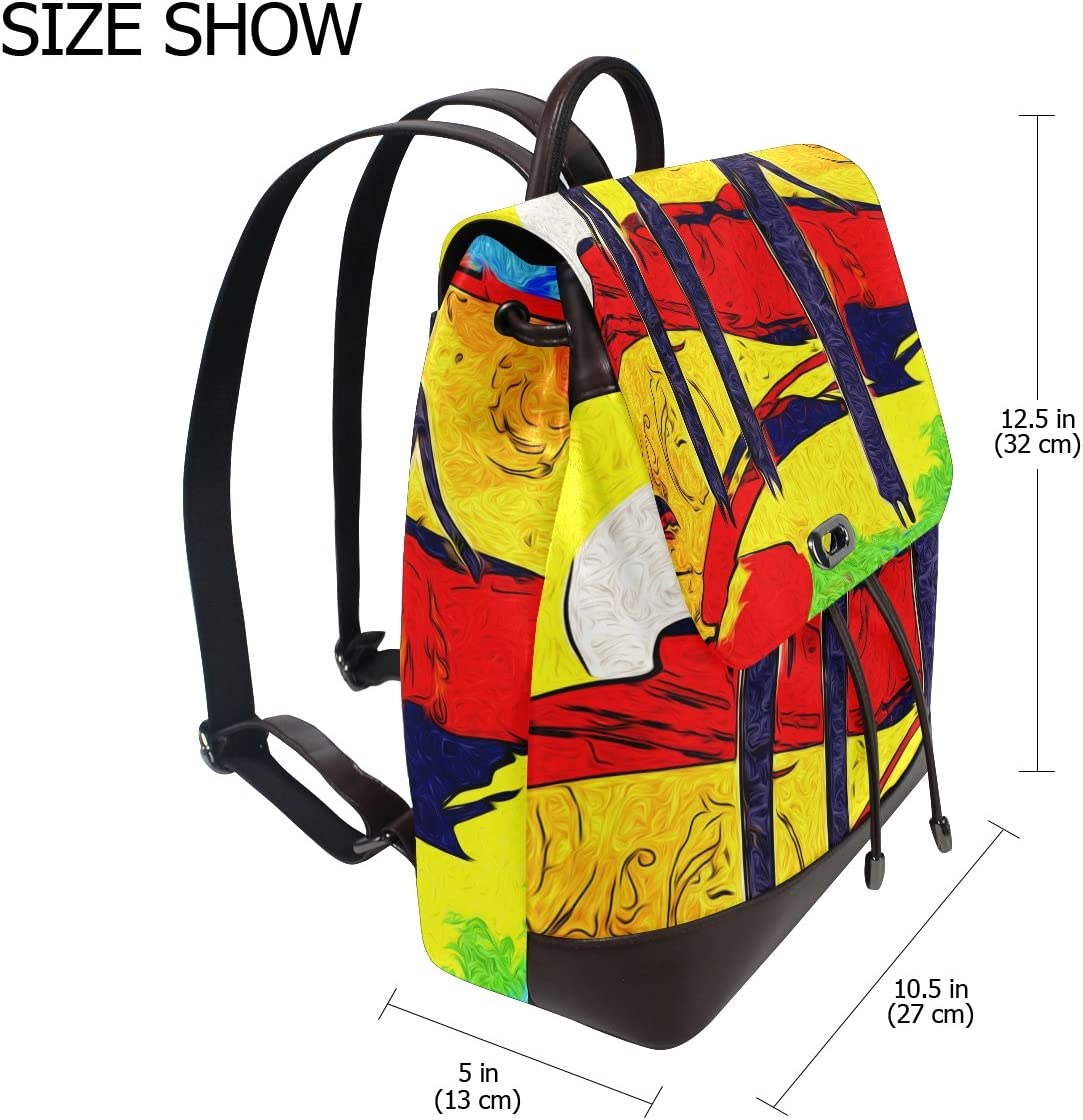 KUWT Watercolor Abstract African Women PU Leather Backpack Photo Custom Shoulder Bag School College Book Bag Rucksack Casual Daypacks Diaper Bag for Women and Girl