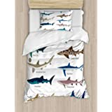 Ambesonne Shark Duvet Cover Set Twin Size, Types of Sharks Pattern Whaler Piked Dogfish Whlae Shark Maritime Design Nautical,