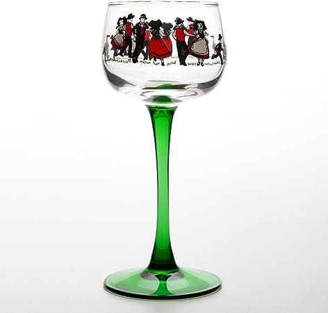 6 Verres à Vin d'Alsace VIN DU RHIN décor