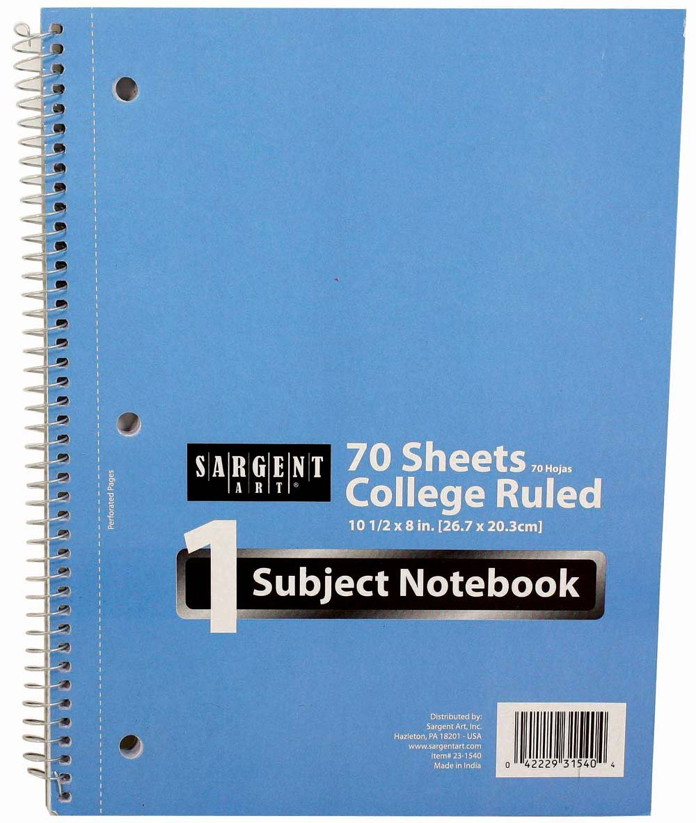 Sargent Art 23-1540 1 Subje-Count Notebook, College Ruled