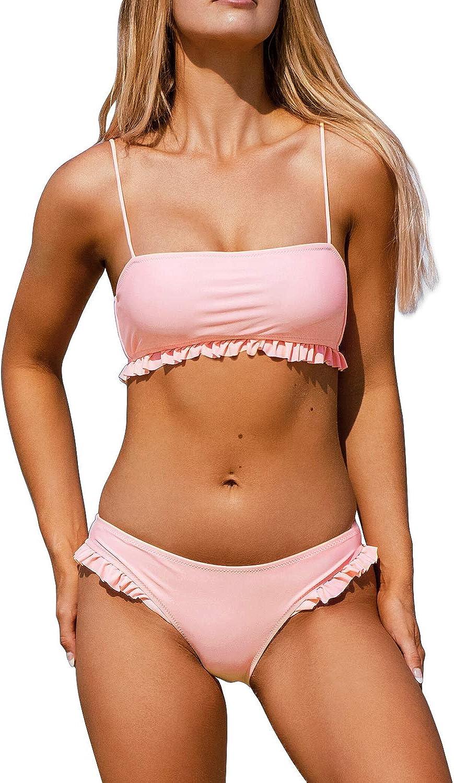 High Waisted Ruffle Bikini Set Women Triangle Two Piece Straps Swimsuit Beachwear