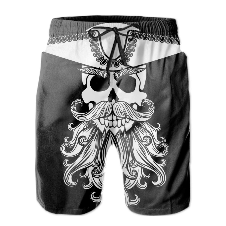 Skull With Beard2 Medium FSFFDFEEE Men's Quick Dry Swim Trunks Boy and Girl Swimsuit