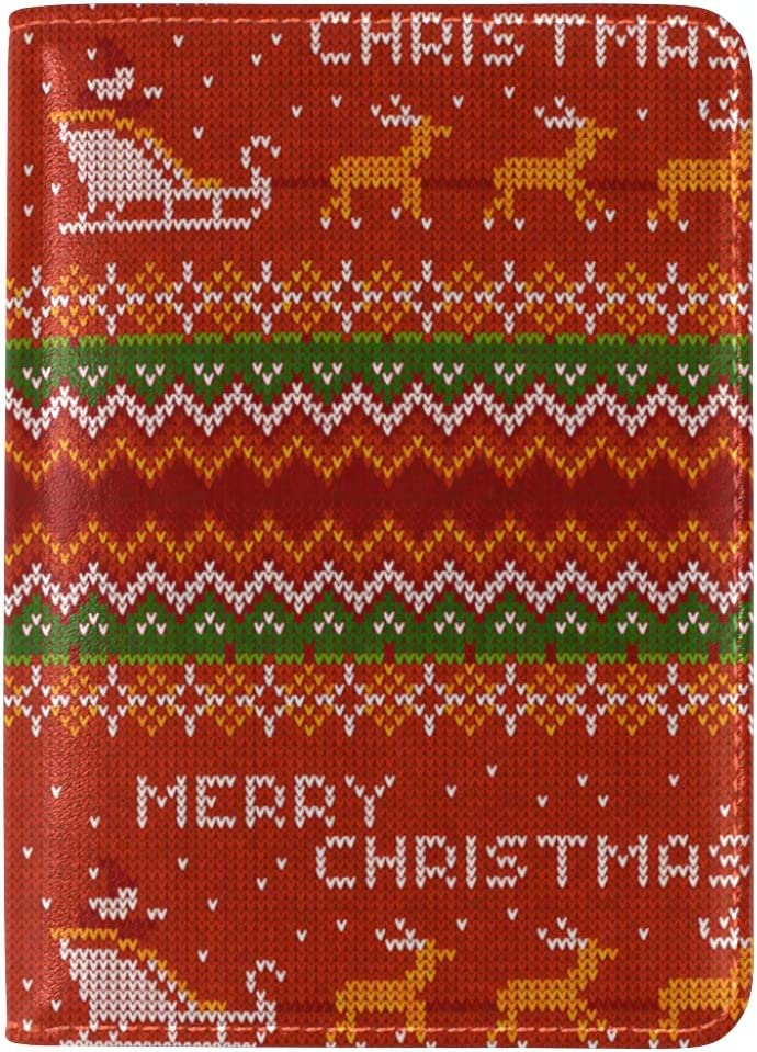 Fiber Optic Christmas White Deer Leather Passport Wallet for Passport Holder for Safe Trip durable Easy to Carry