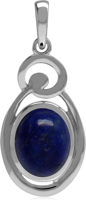Silvershake Natural 10x8 mm Blue Lapis Lazuli Stone 925 Sterling Silver Chakra Swirl Pendant