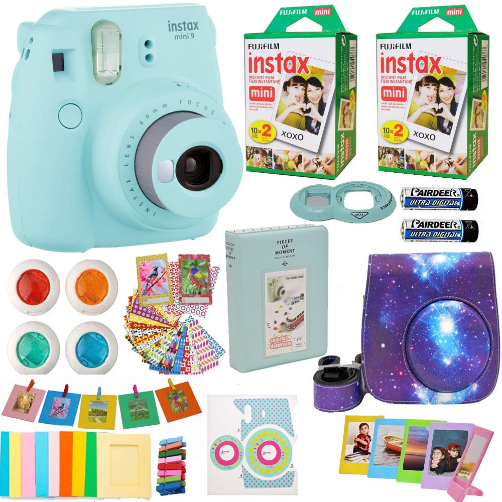 Fujifilm Instax Mini 9 Camera + Fuji Instant Instax Film (40 Sheets) Includes Galaxy Camera Case + Assorted Frames + Photo Album + 4 Color Filters and More Top Accessories Bundle (Star Ice Blue) by Abesons