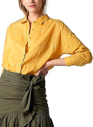Scalpers Camisa Bordado Palmeras - Camisa para Mujer, Talla M, Color Mostaza: Amazon.es: Ropa y accesorios