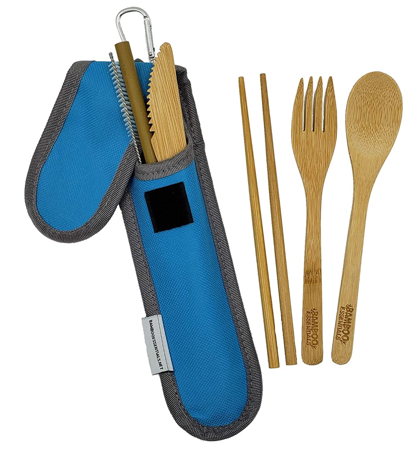Chopsticks Straw Spoon Travel Pouch and Carabiner Knife Bamboo Fork Straw-cleaning brush Excellent For Everyday Use! Bamboo Travel Utensil Set Summer Green