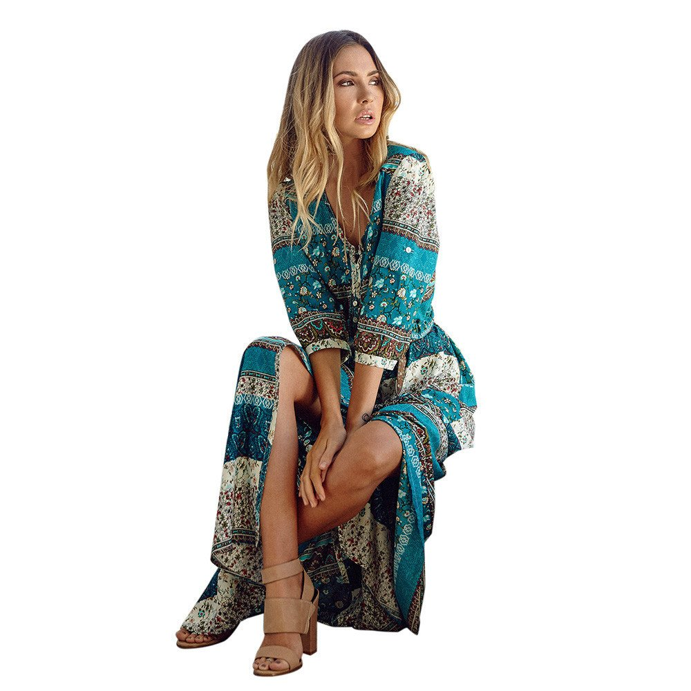 JESPER Women Summer Bohemian Half Sleeve Tunic Floral Party Beach Long Maxi Dress Sundress Brown