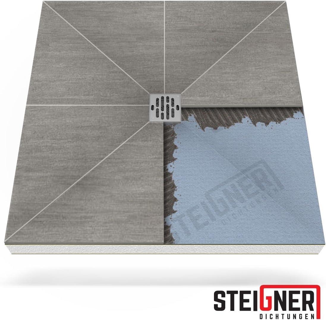 STEIGNER Receveur de Douche Mineral PLUS Drain Central Drain Horizontal Plaque en EPS 90x110 cm