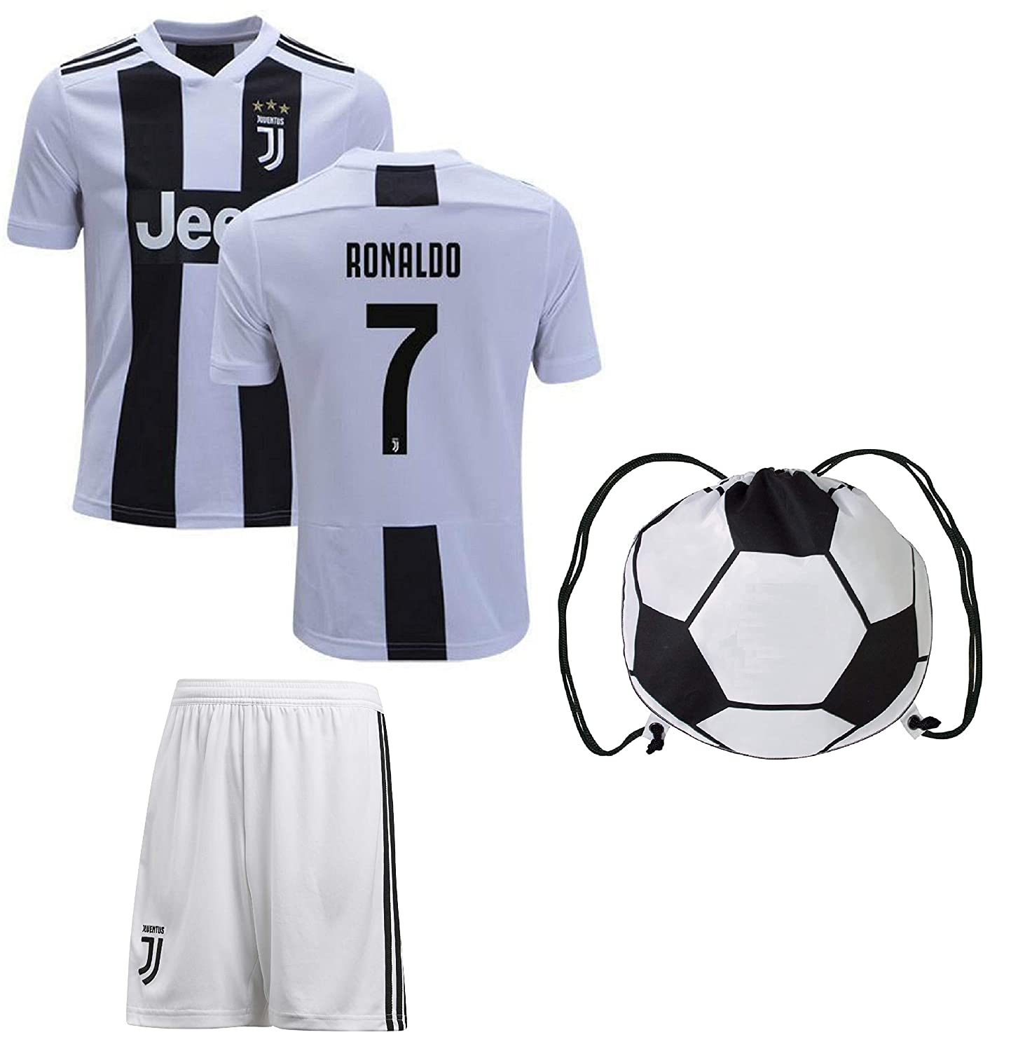 sale retailer 3fd79 781b5 Cristiano Ronaldo Juventus #7 Youth Soccer Jersey Home Short Sleeve Shorts  Kit Kids Gift Set