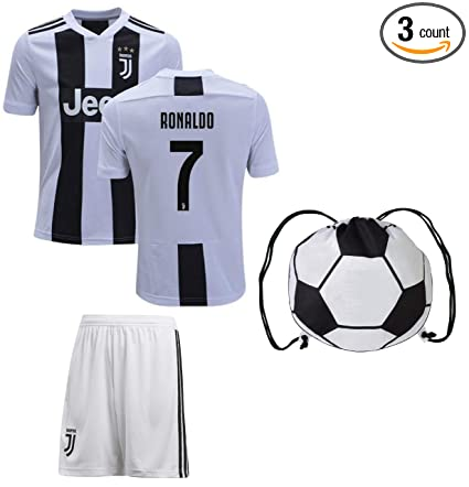 sale retailer 83d27 8bc67 Cristiano Ronaldo Juventus #7 Youth Soccer Jersey Home Short Sleeve Shorts  Kit Kids Gift Set