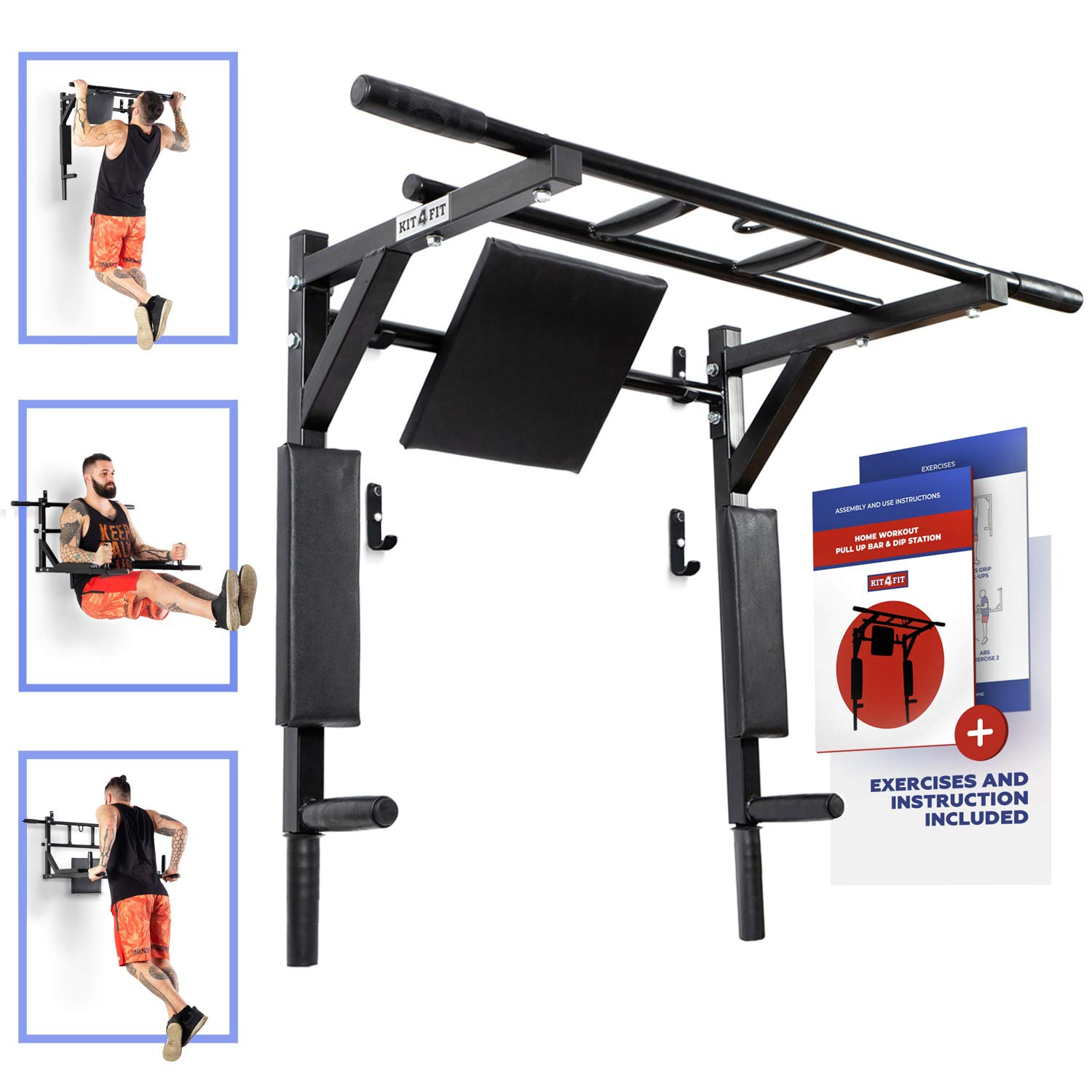 Wall Mounted Pull Up Bar and Dip Station with Vertical Knee Raise Station Indoor Home Exercise Equipment for Men Woman and Kids Great for Workout and Fitness (Black) by Kit4Fit (Image #1)