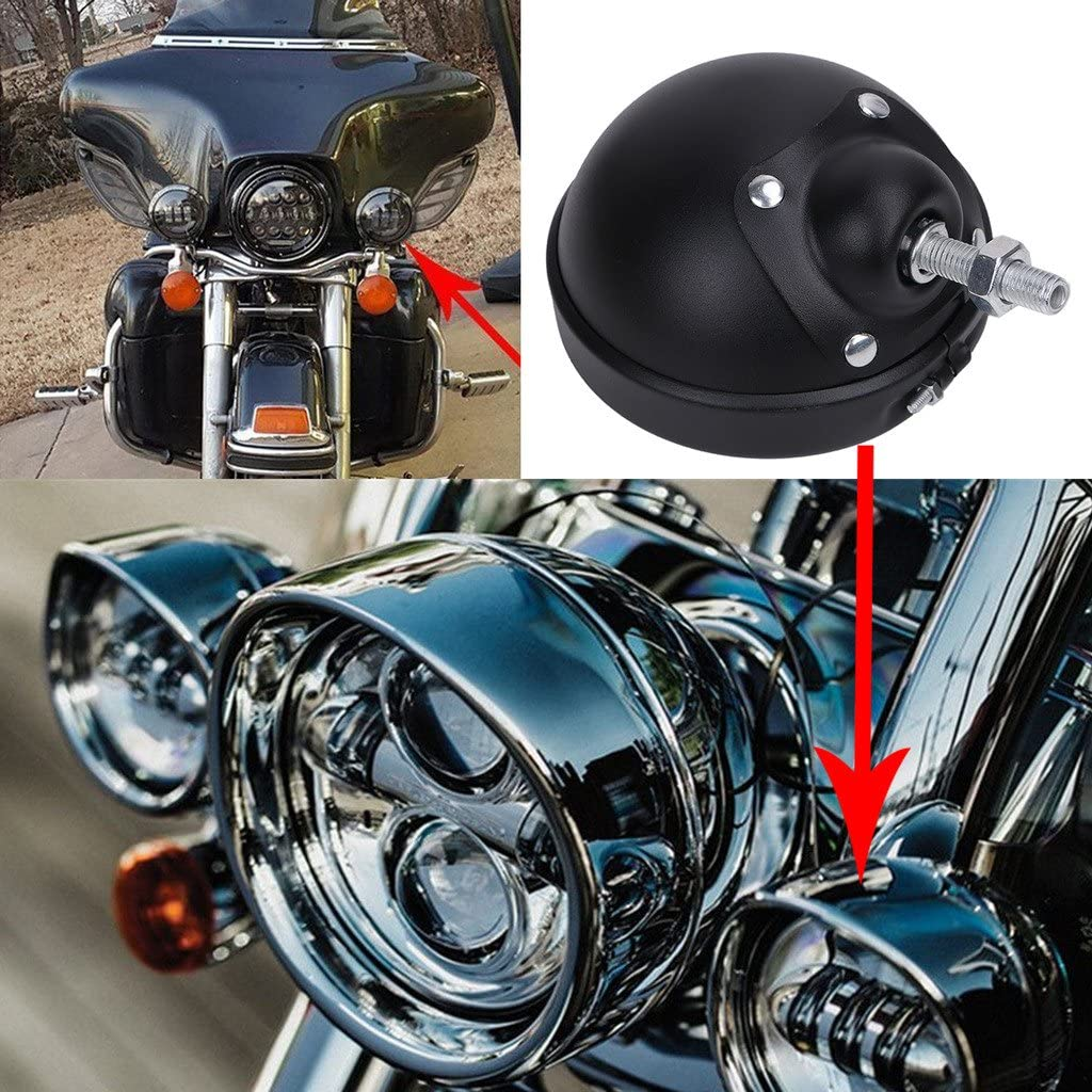 Jade Black 4.5 LED Fog Light Outer Cover Trim Bracket Kit For Harley Davidson