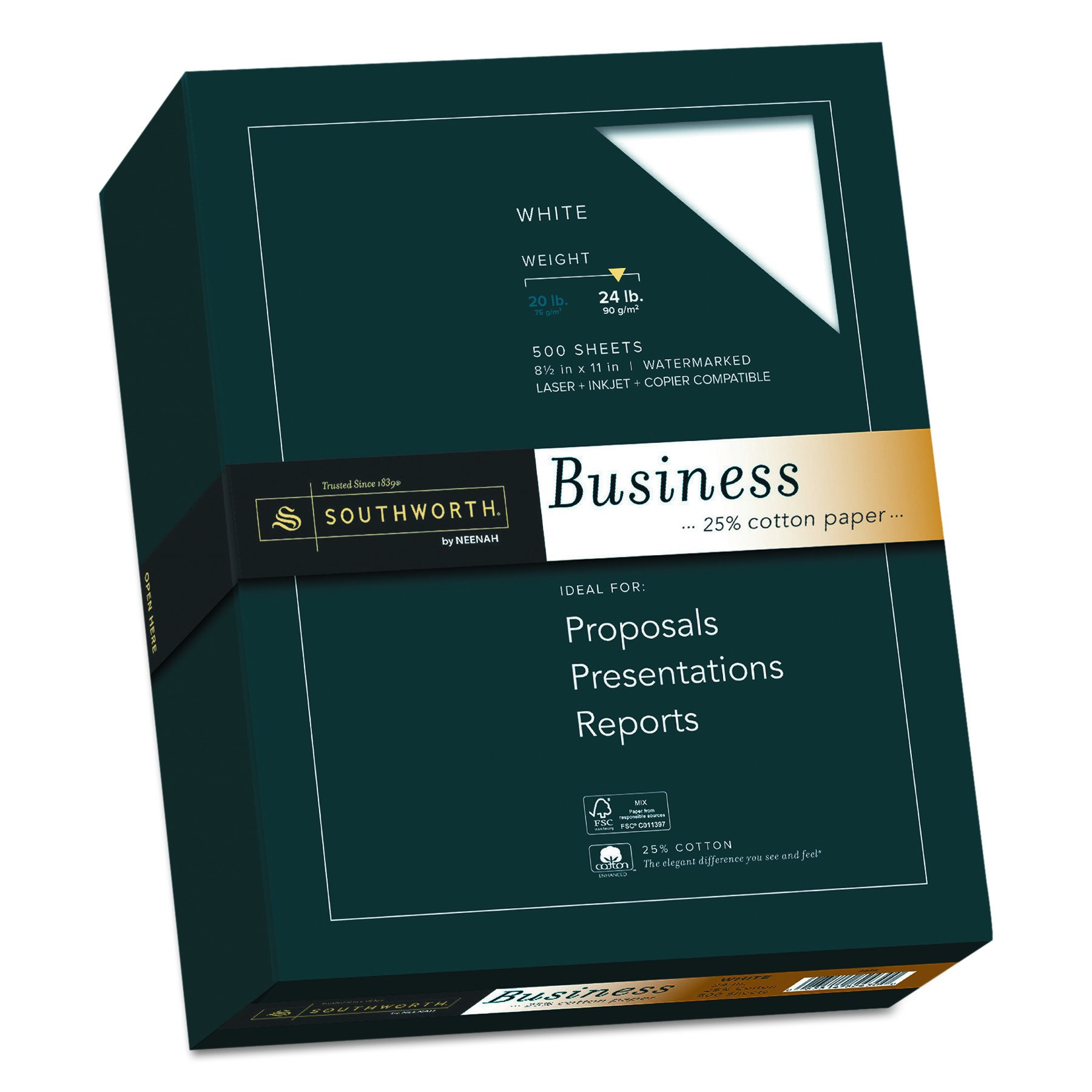 Southworth 25% Cotton Business Paper, 8.5'' x 11'', 24 lb, Wove Finish, White, 500 Sheets (404C)