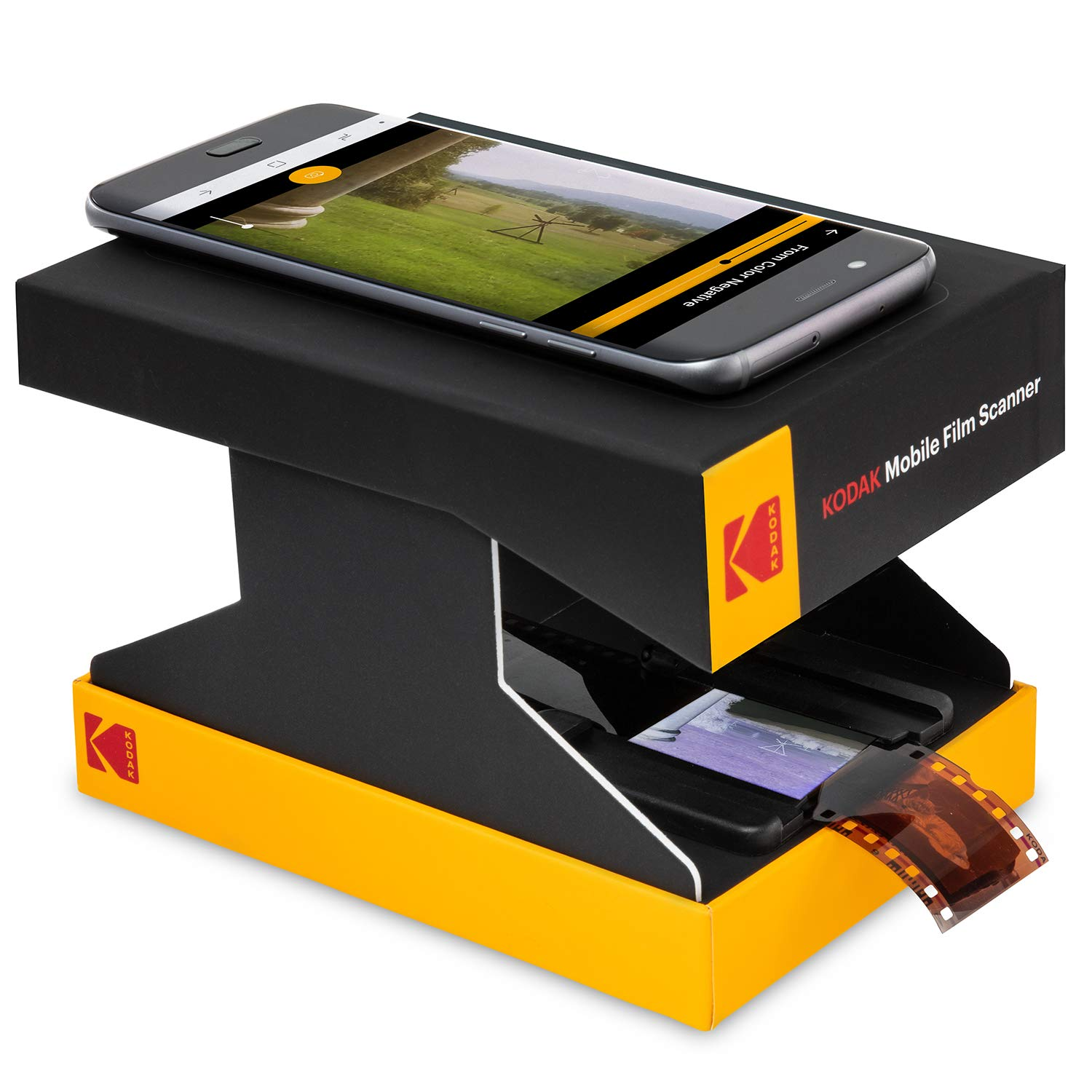KODAK Mobile Film Scanner - Scan & Save Old 35mm Films & Slides w/Your Smartphone Camera - Portable, Collapsible Scanner w/Built-in LED Light & Free Mobile App for Scanning, Editing & Sharing Photos by KODAK
