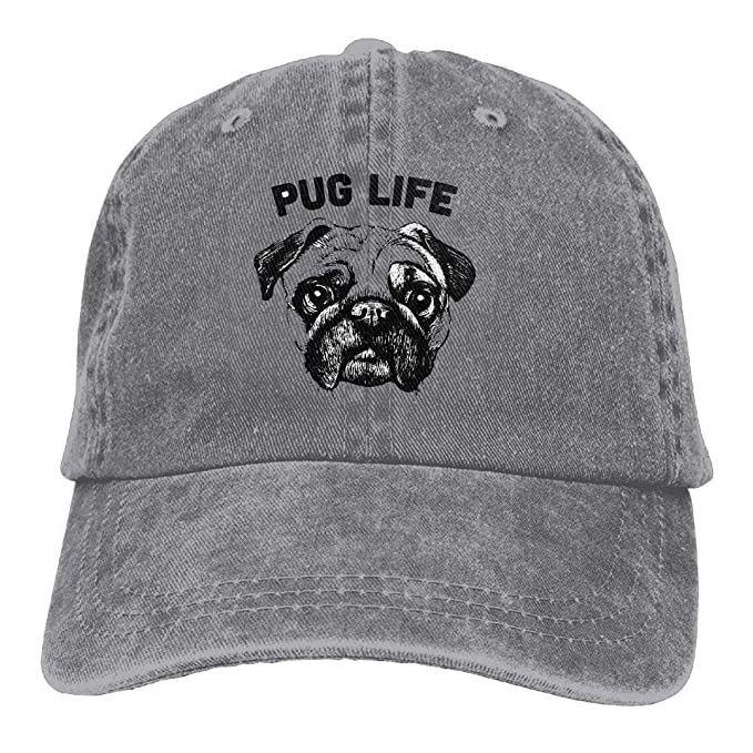 b83a386ea24 Image Unavailable. Image not available for. Color  husaewi Cowboy Baseball  Cap Men Women Dad Style Hat Black Pug Life
