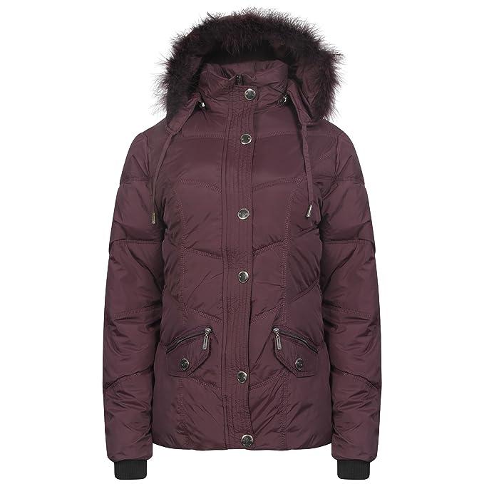 Señoras estilo militar Parka chaqueta Mujer chaqueta con capucha con borde de pelo detectables tamaño 8
