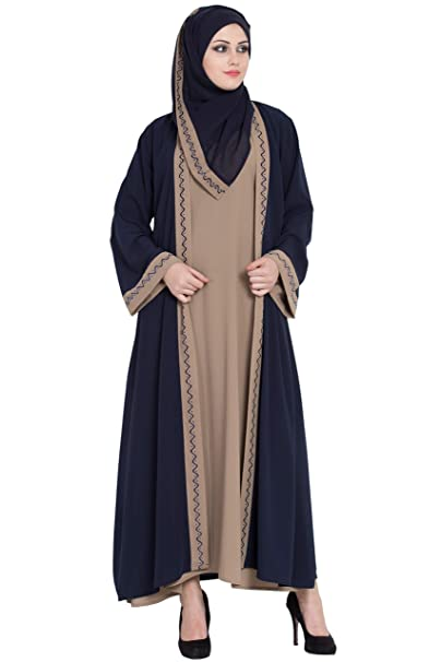 hot product hot product wide selection Kimono abaya with a matching HIjab | Koshibo fabric | Navy ...