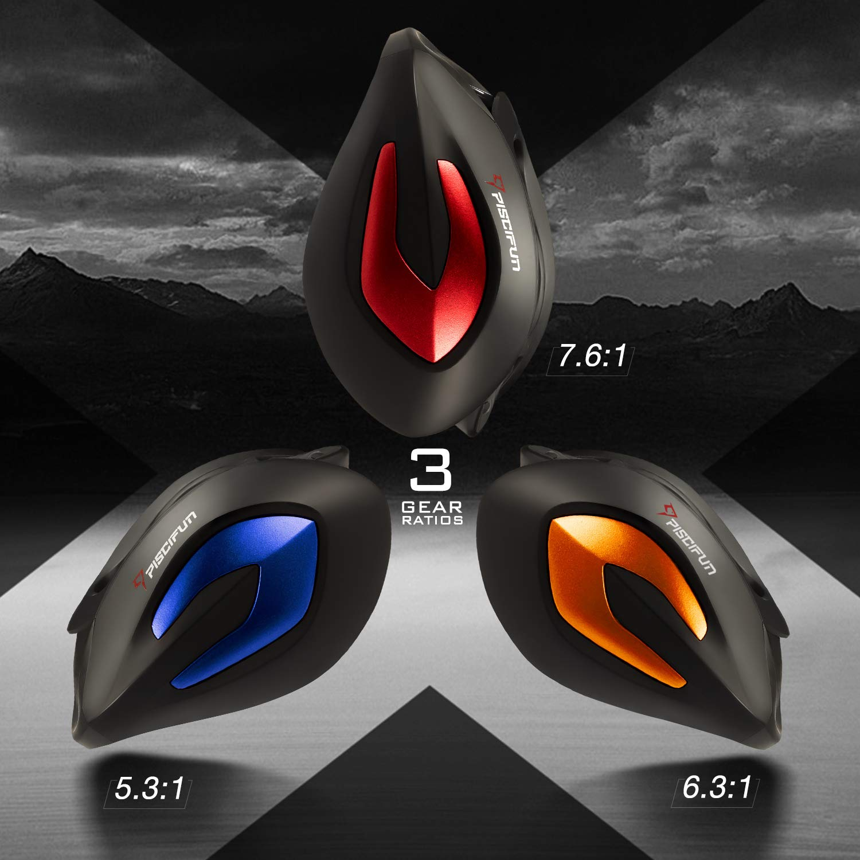 Piscifun Phantom X Baitcasting Fishing Reels, 5.3 1, 6.3 1 and 7.6 1 Gear Ratios, Carbon Reel Handle, Ultra Smooth 18lb Carbon Drag, Centrifugal Brake Baitcaster