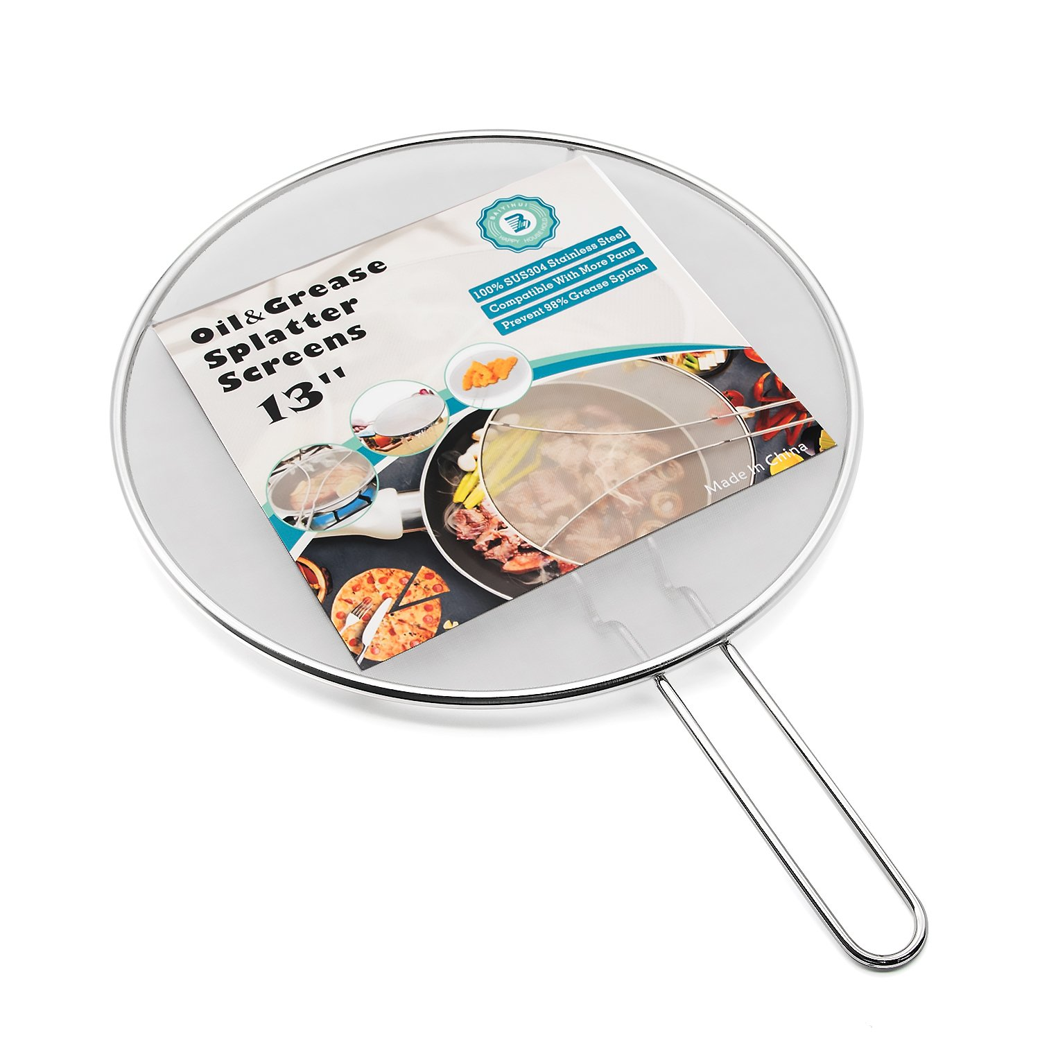 Baiyihui 13'' Splatter Screen for Frying Pan, Professional SUS304 (18/8) Stainless Steel Oil&Grease Splash Guard, Ultra Compact Grid and Resting Feet Design, Stop Over 99% of Oil&Grease Splash