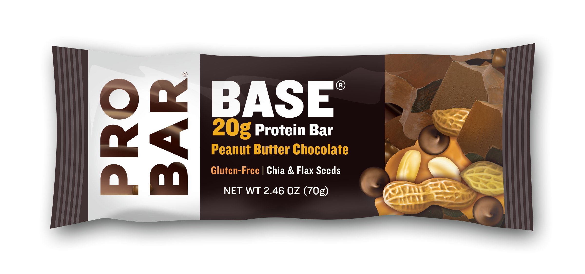 PROBAR - Base 2.46 Oz Protein Bar, Peanut Butter Chocolate, 12 Count - Organic, Gluten-Free, Plant-Based Whole Food Ingredients by Probar