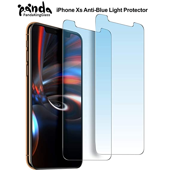 pretty nice 79cb7 b246f PandaKingGlass Screen Protector with Anti-Blue Compatible Apple iPhone Xs  and iPhone X (5.8