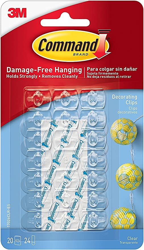 3M Command Command Decorating Clips, Clear, 60-Clip