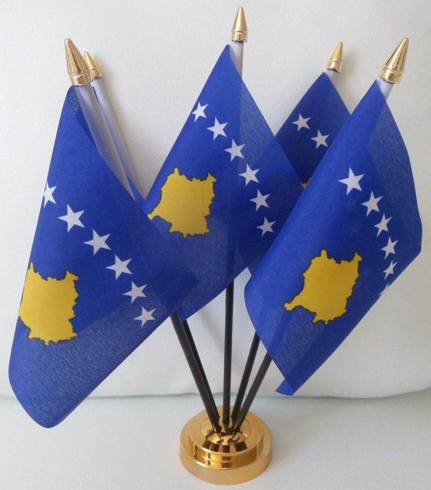 Kosovo Kosovar de la bandera de 5 de sobremesa mesa centro de mesa en oro pantalla Base: Amazon.es: Hogar