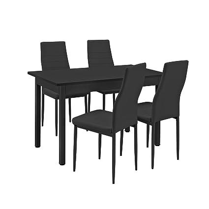 [en.casa]®] Conjunto de Comedor - Mesa Negra (120x60cm) con 4 sillas Negras tapizadas - Mesa de Cocina con Juego de sillas - Set Ahorro