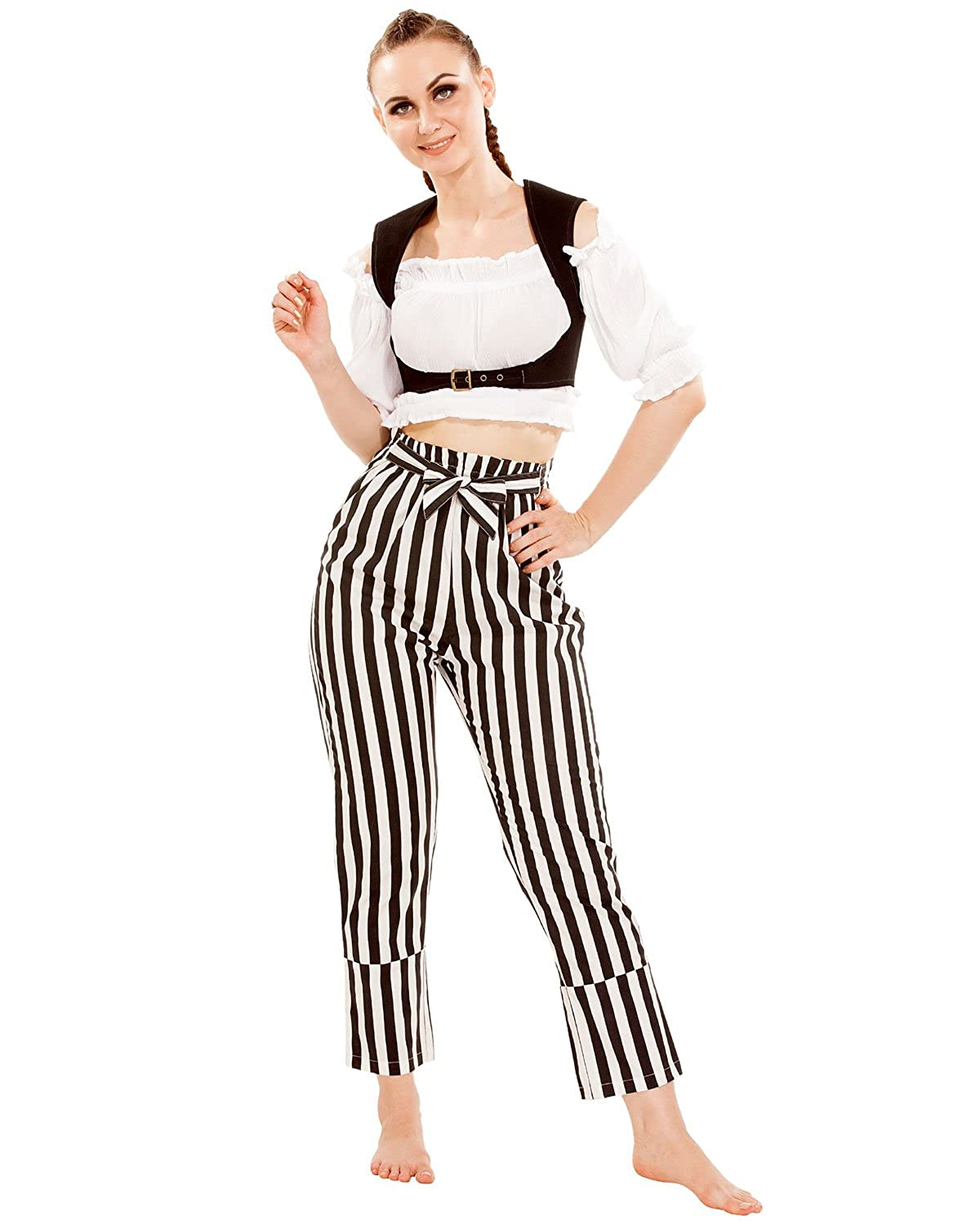 Women's Pirate Wench Cotton Black & White Striped Self-Tie Cosplay Costume Pants by ThePirateDressing - DeluxeAdultCostumes.com