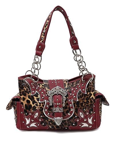 38ab90c33759 Western Leopard Purse (Burgundy): Handbags: Amazon.com