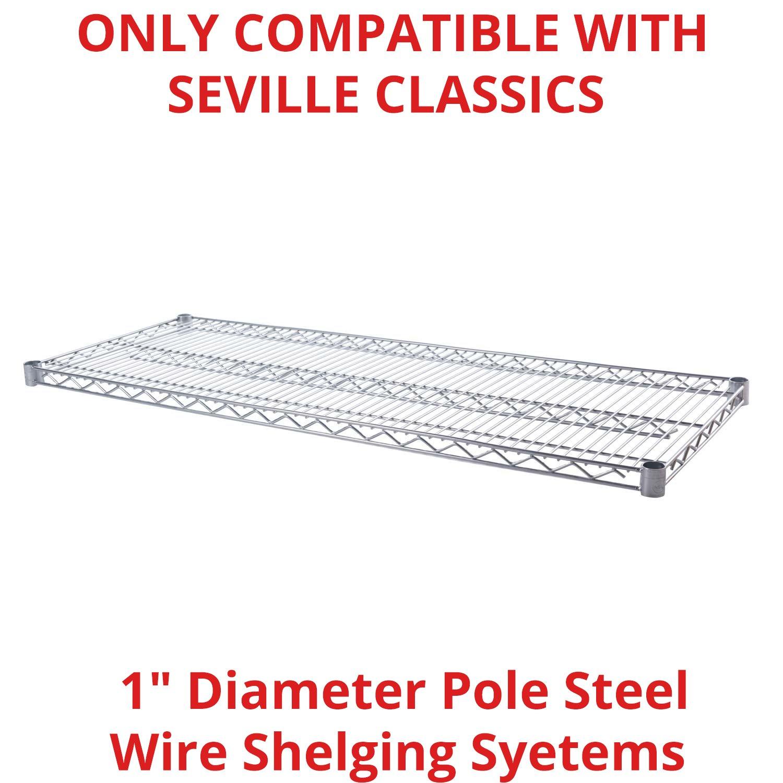 Seville Classics SHE18486 Ultradurable Commercial-Grade Steel Wire Shelf, 48'' x 18'', UltraZinc