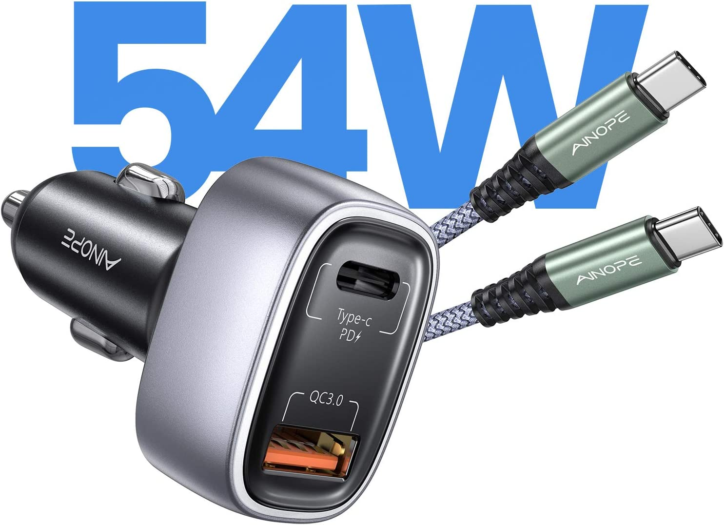 USB C Fast Car Charger, Car Fast Charger 54W PD&QC 3.0 Dual Port AINOPE Fast Charging Car Charger Compatible with iPhone 12/12 Pro Max/12 Mini, Galaxy S21+/S20+/S10, MacBook Pro/Air, iPad Pro