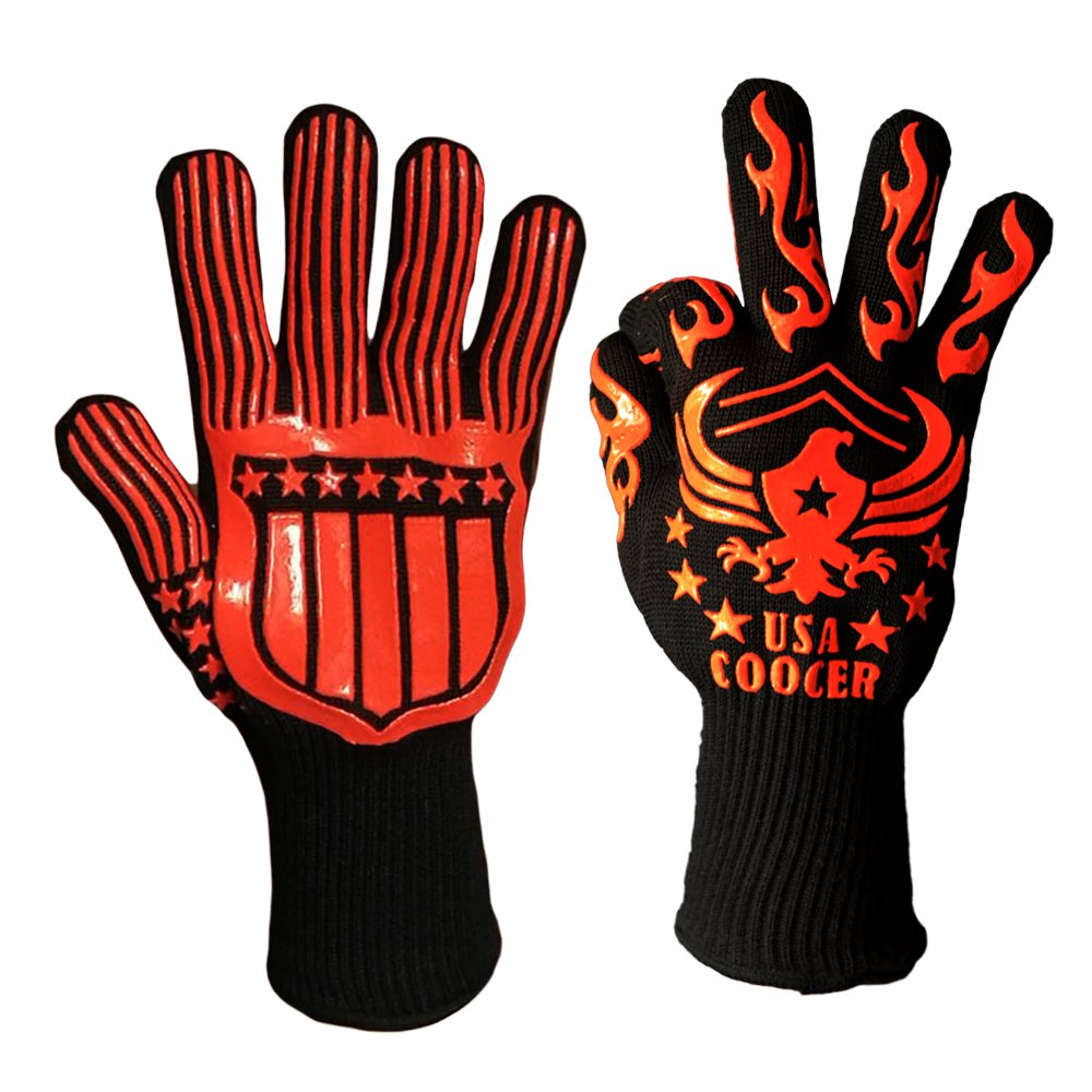 BBQ Oven Mitts Heat Resistant Gloves- Heat and Cut Resistant Grilling Gloves, Extreme long Forearm Protection gloves for Frying and Baking.