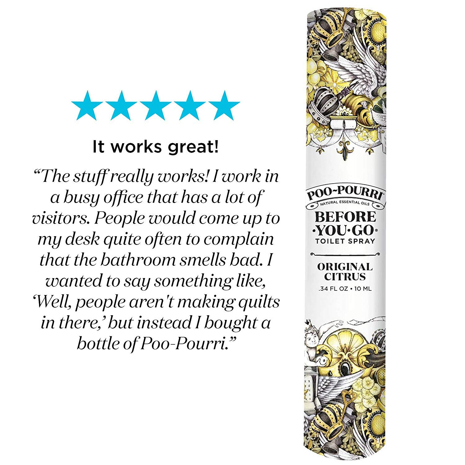 Poo-Pourri Travel Size 10mL - (2) Original Scent, (2) Lavender Vanilla Scent and Tropical Hibiscus 1.4 Ounce Bottle with Bottle Tag Included by Poo-Pourri (Image #4)