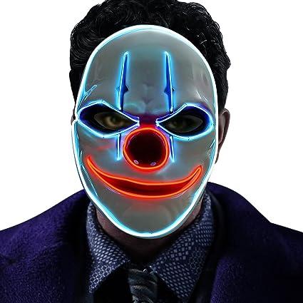 Amazon.com: GOODNEW Halloween El Wire Light Up Clown Mask, Cosplay ...