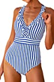 CUPSHE Women's V Neck One Piece Swimsuit Ruffled Back Cross Swimwear