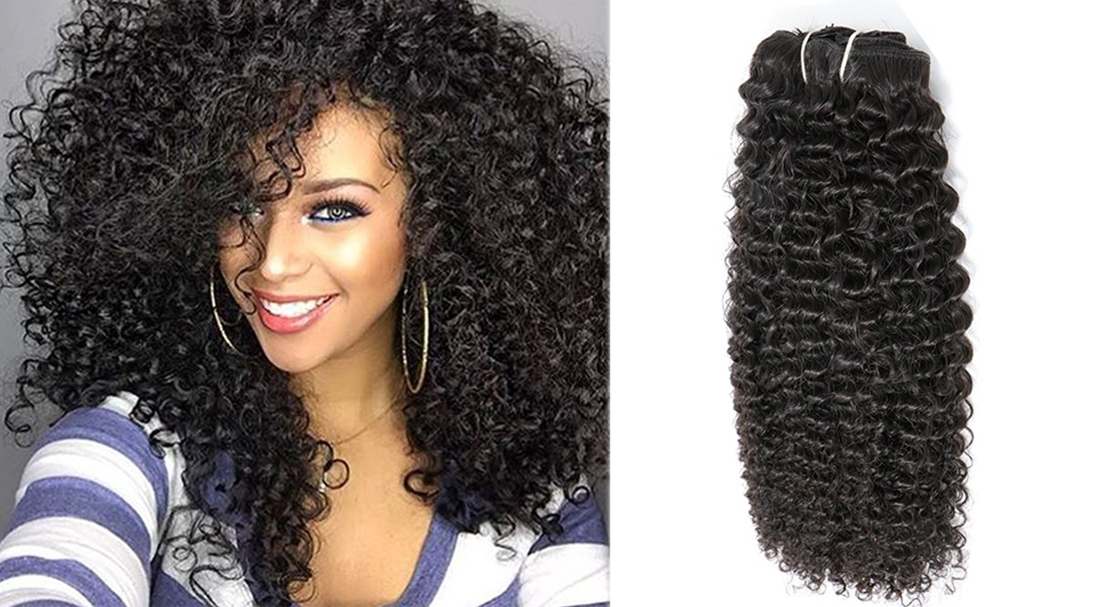 New Licoville Afro Curl Clip In Hair Extensions 120g Black Human