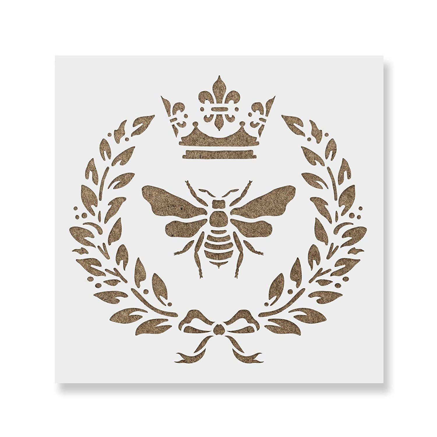 Royal Bee Stencil Template for Walls and Crafts - Reusable Stencils for Painting in Small & Large Sizes Stencil Revolution