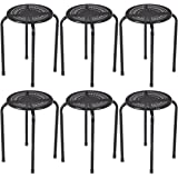 Costway Stackable Daisy Design Metal Stool Backless Round Top Kitchen Home, garden & living e (6-Pack) (Black)