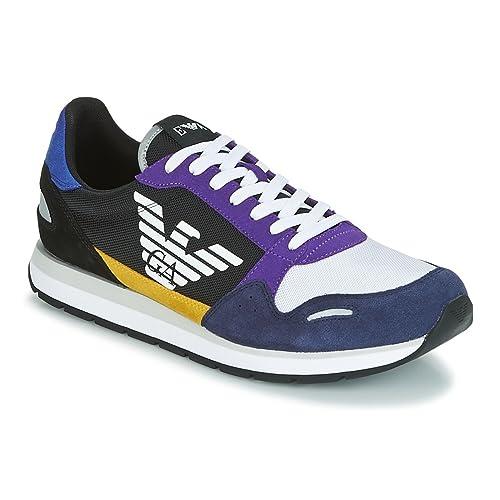 148aa3b61 Emporio Armani X4X215 XL200 Suede Black/White/Navy/Purple Sneaker Trainer 8