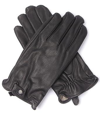 f9c2460bfb Lacoste Pour Homme Gants en cuir véritable noir rv4053 Doublure en cachemire  - Noir - Taille