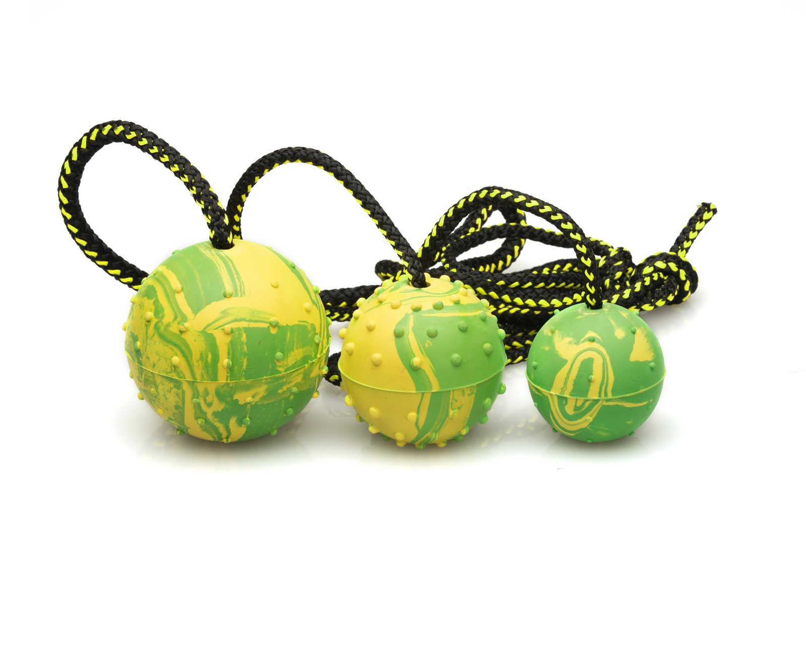 Dog Ball, Rubber with Rope - K9 Training, Reward, Fetch - 3'' (75mm)