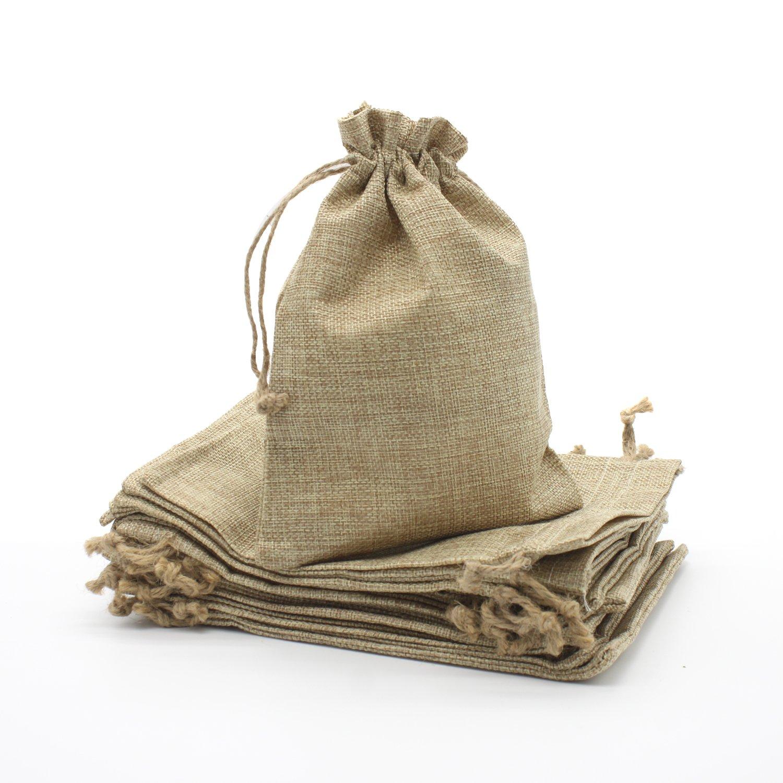 20 Pcs Faux Burlap Bags Wedding Paty Favor Small Gift Drawstring Sack (6''X8'')