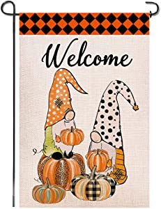 Shmbada Welcome Fall Gnomes Halloween Burlap Garden Flag, Double Sided Pumpkins Autumn Home Plaid Decor Outdoor Seasonal Decorative Flags for Yard Lawn Patio Porch Farmhouse, 12.5 x 18.5 inch