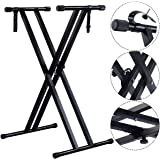 Costzon New Adjustable Metal Music Keyboard Electronic Piano Dual Tube X Stand Standard Rack