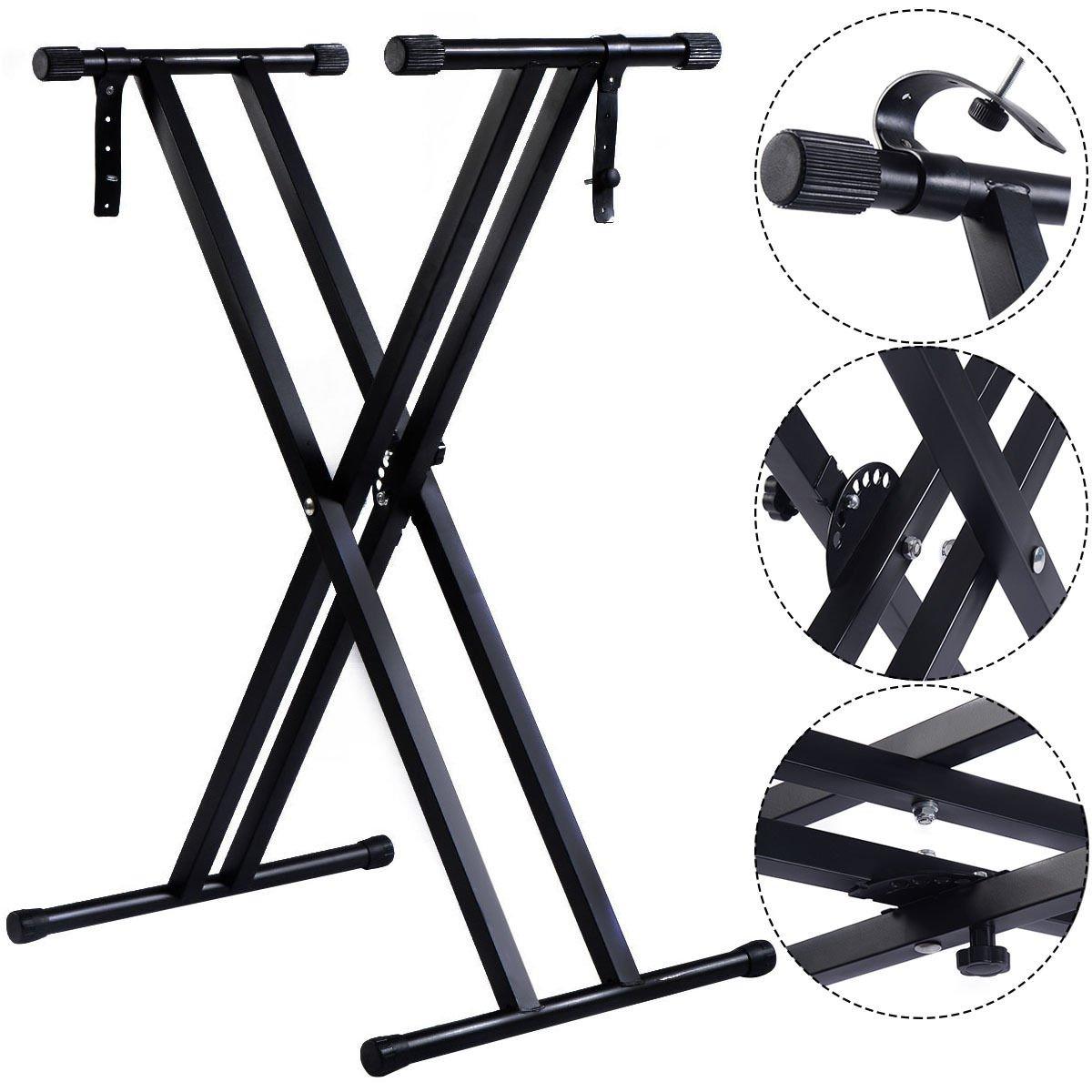 Costzon New Adjustable Metal Music Keyboard Electronic Piano Dual Tube X Stand Standard Rack