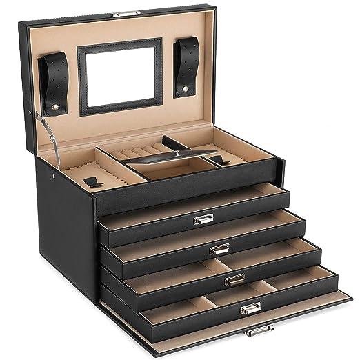 SONGMICS Caja joyero Organizador para anillos pulseras reloj PU con espejo 31 x 20 x 20 cm, Negro JBC001