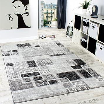 Paco Home Designerteppich Wohnzimmer Teppich Retro Stil Shabby Chic Grau  Creme Preishammer, Grösse:60x100
