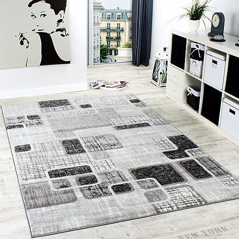 Designerteppich Wohnzimmer Teppich Retro Stil Shabby Chic Grau Creme  Preishammer, Grösse:60x100 Cm